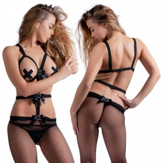 FISHNET AND CUPLESS BODYSTOCKING WITH BOWS BLACK