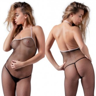 BLACK FISHNET BODYSTOCKING WITH PINK SEAM