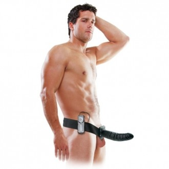 FETISH FANTASY SERIES 8'' VIBRATING HOLLOW STRAP-ON BLACK