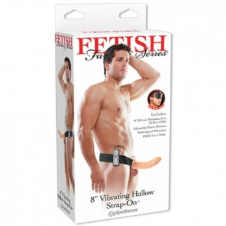 FETISH FANTASY SERIES 8'' VIBRATING HOLLOW STRAP-ON WHITE