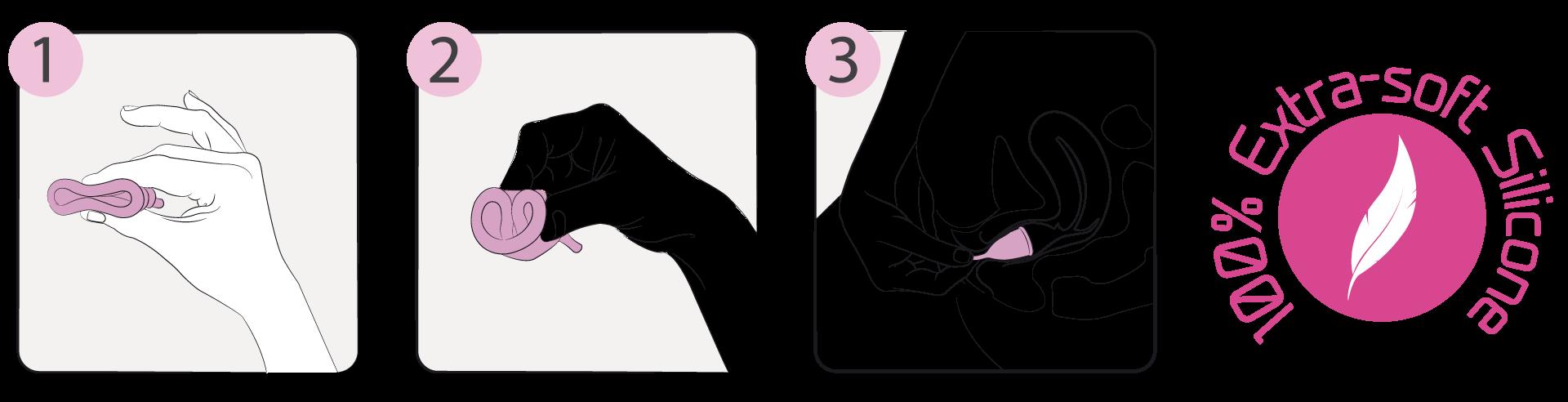 Instruções de introdução do copo menstrual